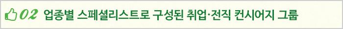 02 업종별 스페셜리스트로 구성된 취업·전직 컨시어지 그룹