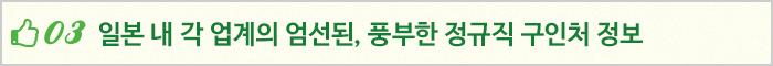 03 일본 내 각 업계의 엄선된, 풍부한 정규직 구인처 정보